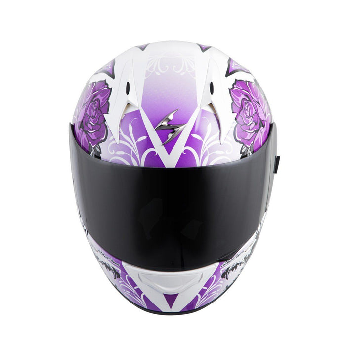 Scorpion Helm EXO-R410 Novel Snell/Dot in White/Purple Motorcycle Helmets Scorpion