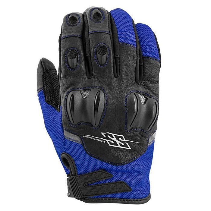 SPEED AND STRENGTH Power and The Glory™ Leather/Mesh Gloves Men's Motorcycle Gloves SPEED AND STRENGTH Blue S
