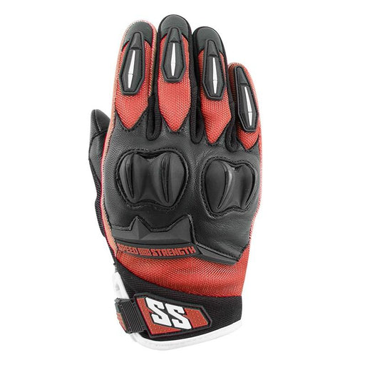 SPEED AND STRENGTH Women's Spellbound™ Leather/Textile Gloves Women's Motorcycle Gloves SPEED AND STRENGTH Red S