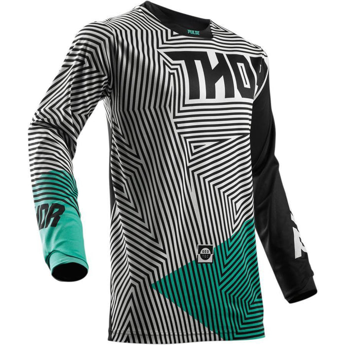 THOR JERSEY YOUTH PULSE GEOTEC BLACK/TEAL Youth Motocross Jerseys Thor