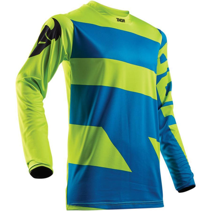 THOR JERSEY YOUTH PULSE LEVEL ELECTRIC BLUE/LIME Youth Motocross Jerseys Thor