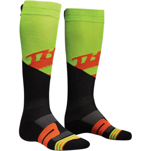 Thor Moto Knot Socks Men's Base Layers Thor Rive - Lime/Red Orange 6 - 9