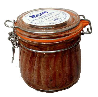 Merro Anchovies Large Mason Jar Sunflower Oil 24 Ounce - Frank and Sal