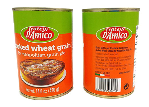 Fratelli D'Amico Cooked Wheat Grain (Grano Cotto) Product of Italy - 2 Cans