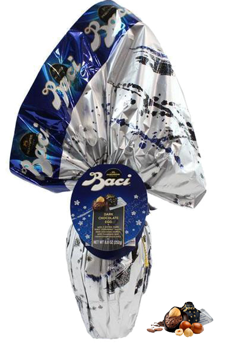 Baci Easter Egg EXTRA Dark Chocolate (70%) with Baci Chocolate Surprise - Italian Import