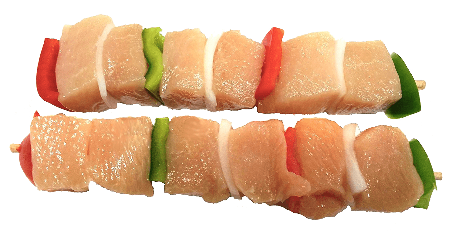Fresh Local Meat Delivery - All Natural Chicken Kabobs (White Meat) Made Fresh Daily (4 Skewers - 1 Pound) Oven Ready