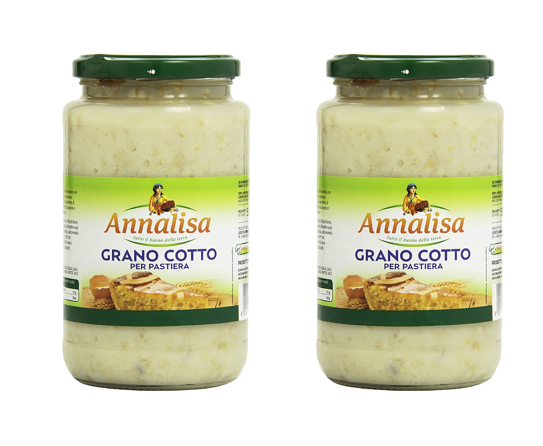 Annalisa Grano Cotto Per Pastiera, Cooked Wheat for Easter Cake, Grain Pie, Pastiera Napoletana- 2- Jars - Free Shipping - Frank and Sal