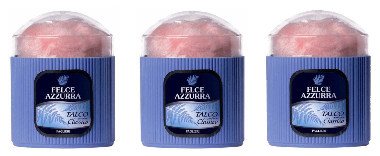Italian Bath Products - Felce Azzura Talco Classico Made In Italy Scented Talcum Powder 3 PACK-WITH POWDER PUFF - FREE SHIPPING
