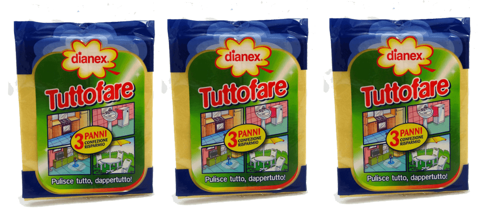 Italian Cleaning Products - Dianex Panno Tuttofare 3 Pack Fantastic Cleaning Cloths From Italia! 9 Clothes Washable. Better Than Chamois. - FREE SHIPPING