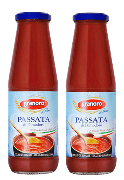 Italian Tomatoes - Granoro Passata Di Pomodoro Crushed And Strained Tomatoes, 690g  2 Jars