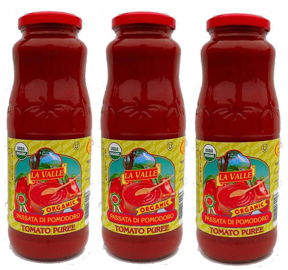 Italian Tomatoes - La Valle: Tomato Puree Organic And Kosher With Basil - Net Weight 24 Oz.- 3 Glass Jars