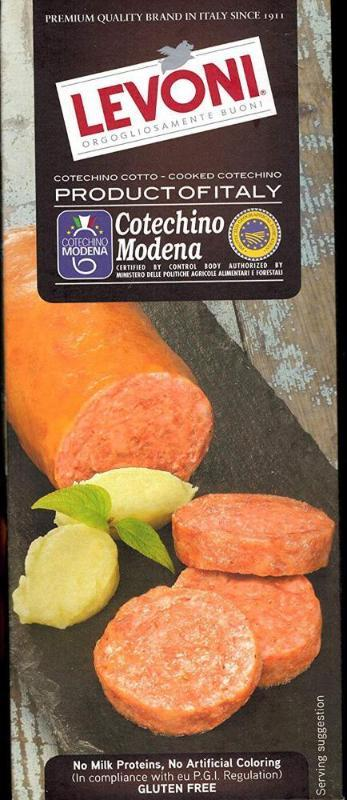 Levoni - Levoni Cotechino Cotto PGI Modena Cooked Pork Sausage, 17.5 Oz (Pack Of 2)