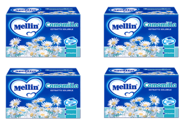 "Mellin Chamomile - Mellin Camomilla Instant ""The Original"" 24 Packets 4.2 Oz. - 4 Pack Chamomile Drink For Babies"