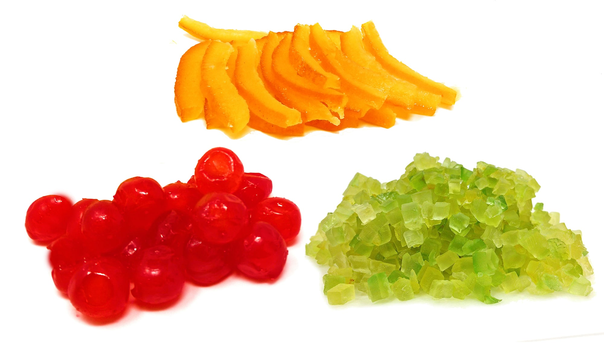 Fresh Assorted Sicilian Candied Fruit - Cherry, Orange and Citron Italian Import. - Frank and Sal Bakery.. Half Pound Each