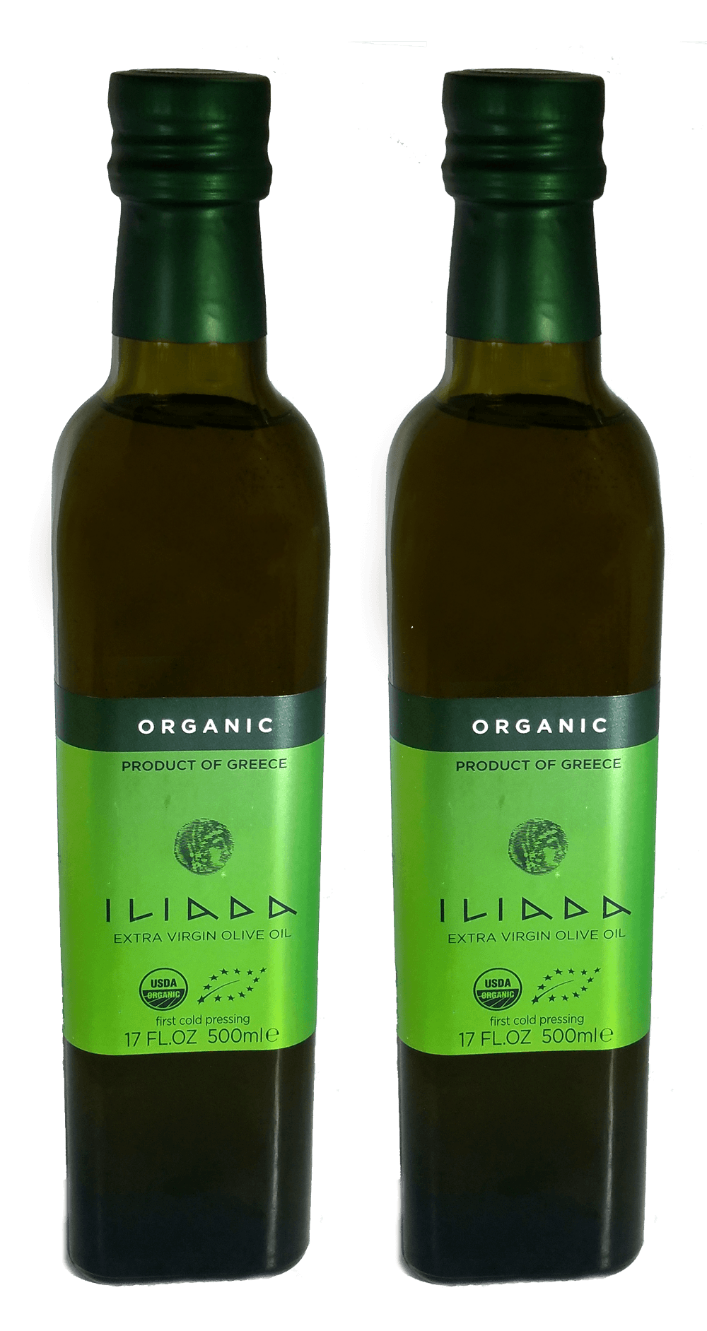 Olive Oil - Iliada Organic Greek Extra Virgin Olive Oil First Cold Press NON GMO - Kosher - 500ML - 2 Pack