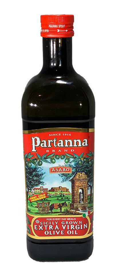 Partanna Sicilian Extra Virgin Olive Oil, 1 Liter 33.8 Ounces  - 2 Pack