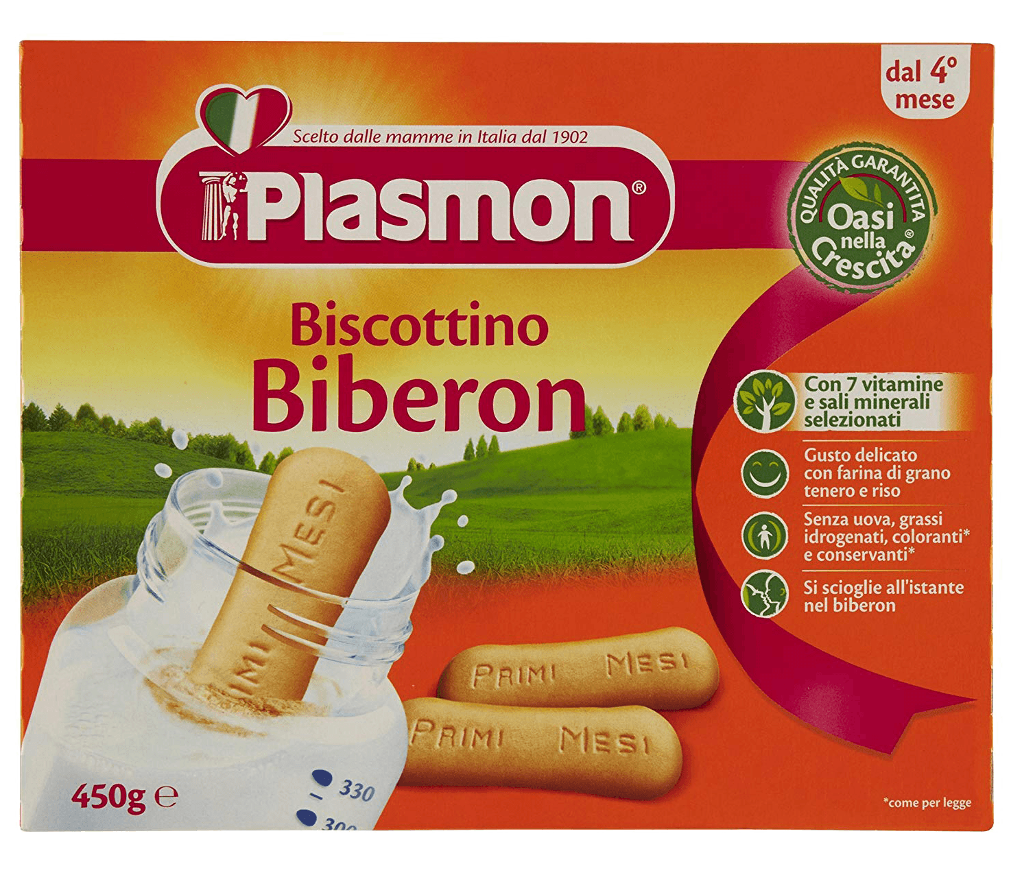 Plasmon Biscottino Biberon - For Babies 4 Months And Up - 2 Pack