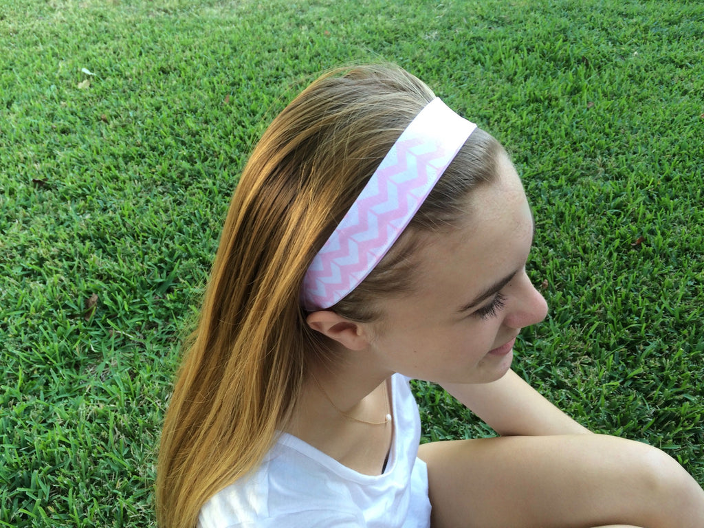 cloth Mini Chevron headband - Light Pink and White