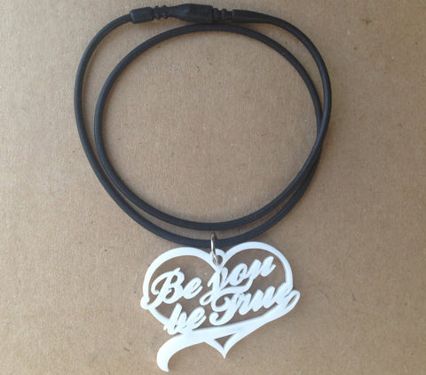 be you be true white heart necklace