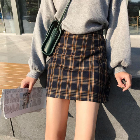 bfaeb0403 VINTAGE GIRL PLAID SKIRT