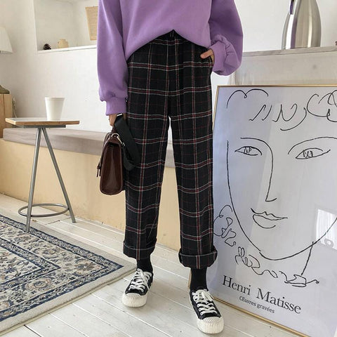 WOOLLEN PLAID PANTS