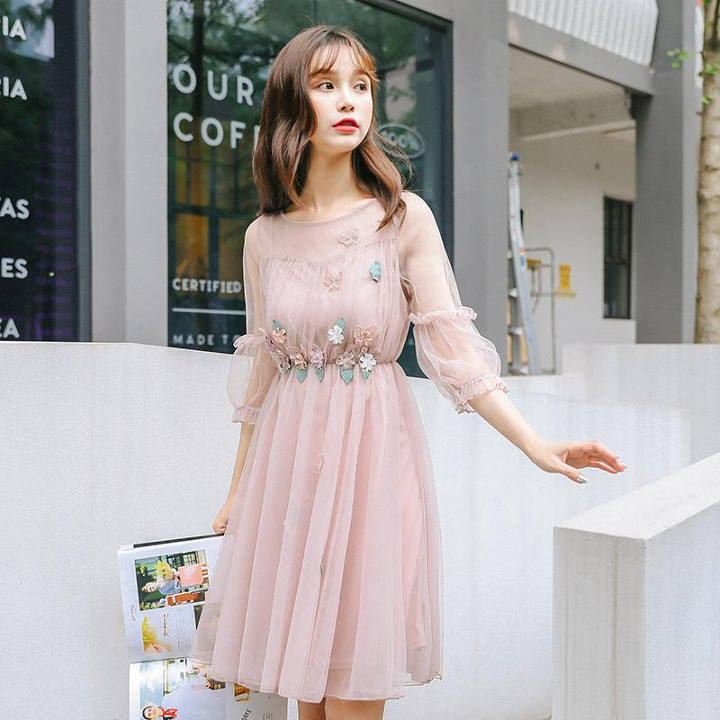 PINK SWEET FLOWER MESH DRESS