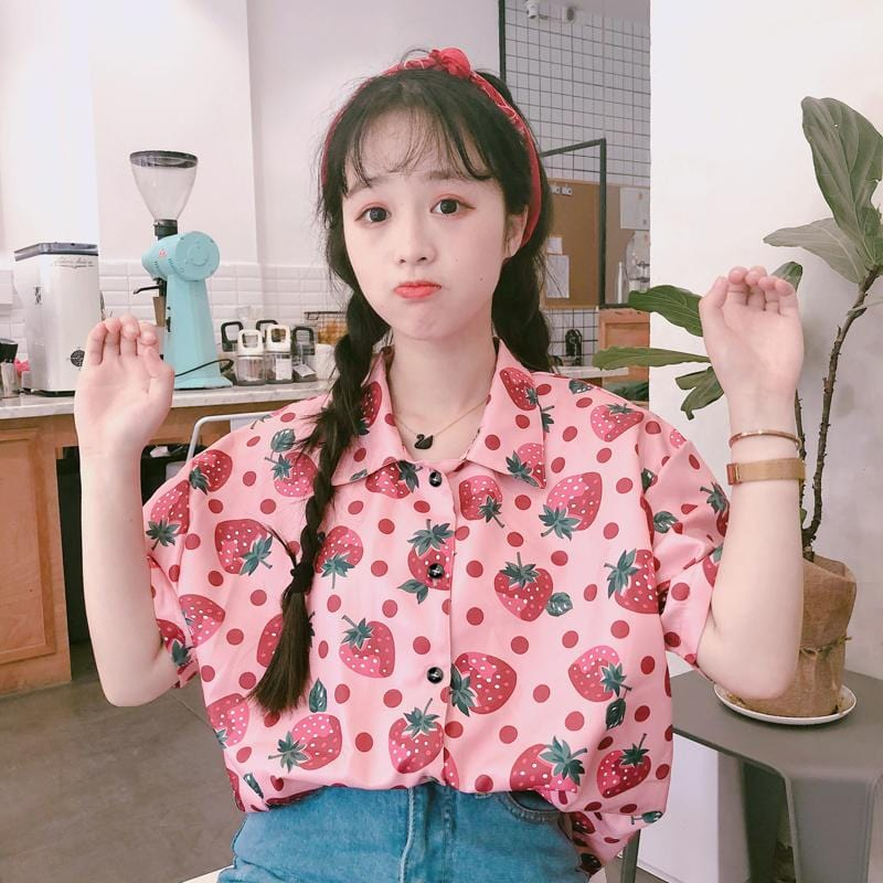 STRAWBERRY PRINT SHIRT