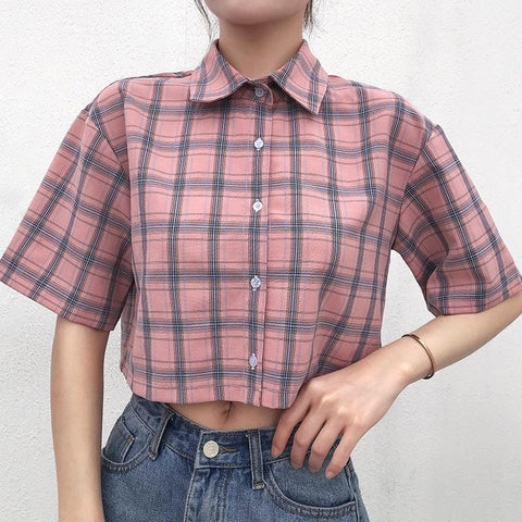 PLAID CROP SHIRT