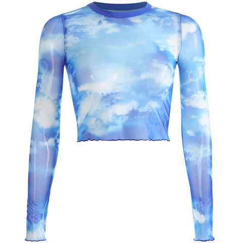 BLUE SKY MESH CROP TOP