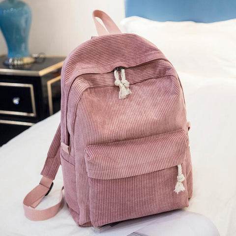 PINK CORDUROY BACKPACK