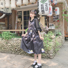 BLACK CRANE DRESS SET