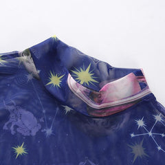 BLUE STARS MOON MESH TOP