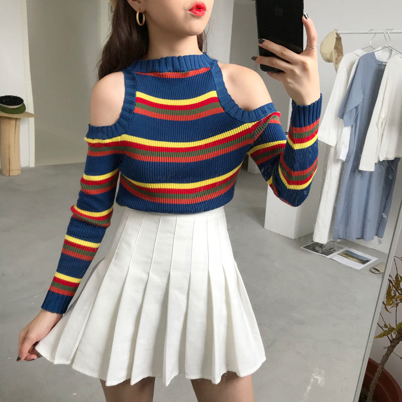 STRIPED OFF SHOULDER KNITTED
