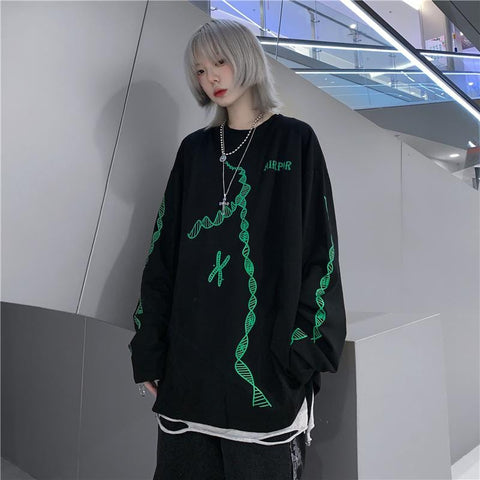 STREET NEON LETTER LONG SLEEVE T-SHIRT