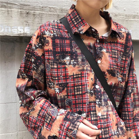 RETRO OVERSIZE LONG SLEEVE SHIRT