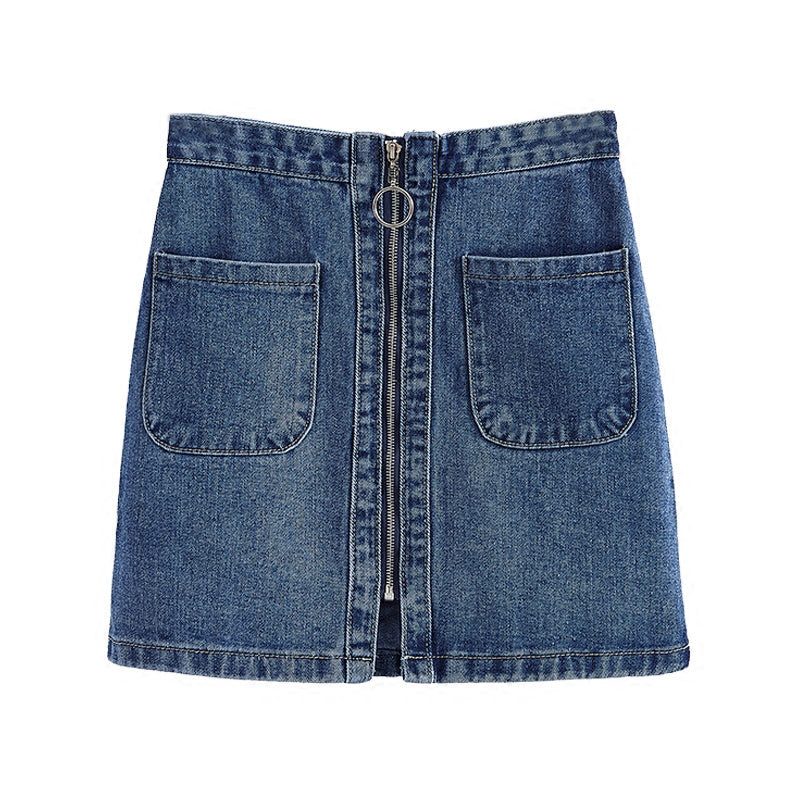 ZIPPER RING DENIM SKIRT