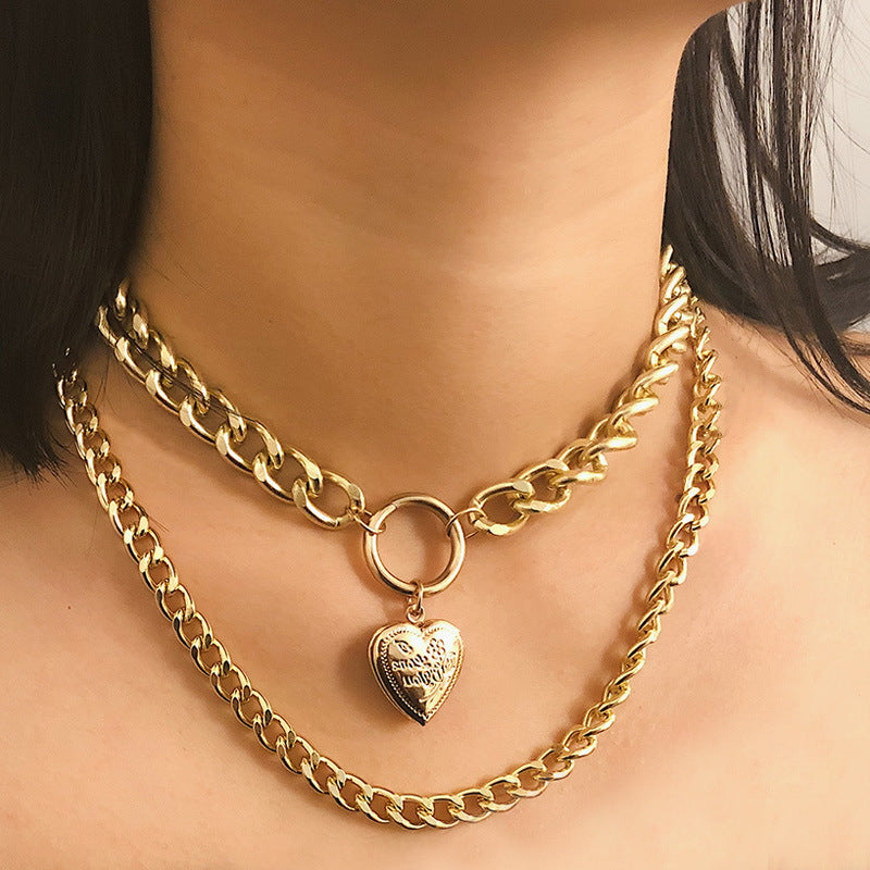 HEART PENDANT THICK CHAIN DOUBLE NECKLACE