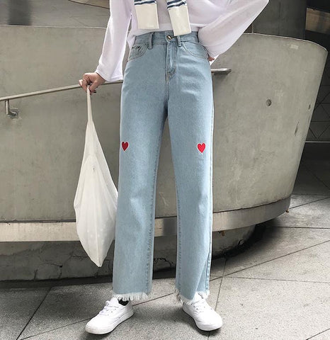 HEART EMBROIDERED DENIM PANTS