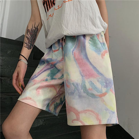 WATERCOLOR TIE-DYE FIVE SHORTS