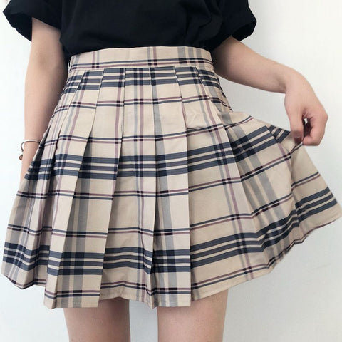 BEIGE BLACK GRID PLEATED SKIRT