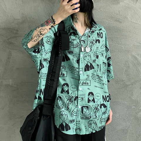 HARAJUKU CARTOON COMIC PRINT SHIRT