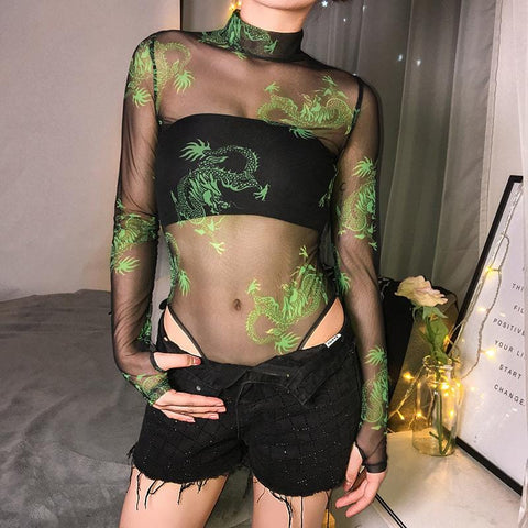 DRAGON PRINT MESH BODYSUIT