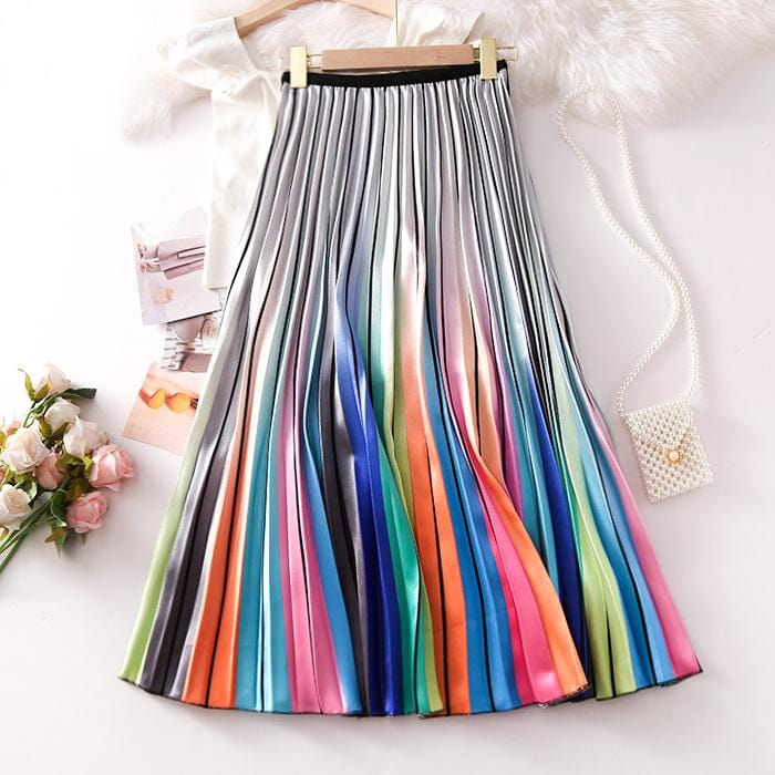 RAINBOW COLOR BLOCK PRINTED SKIRT