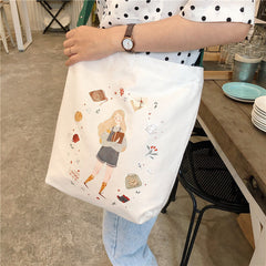 GIRL ILLUSTRATION CANVAS BAG