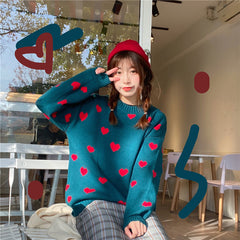 HEART LAZY SWEATER