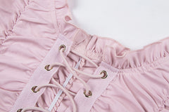 PINK RUCHED LACE UP TOP