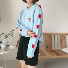 SLEEVES HEART KNITTED