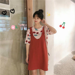CHERRY STRAP DRESS SET