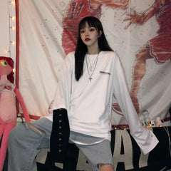 YIN YANG SINGLE SLEEVE FAKE TWO PIECE LONG SLEEVE T-SHIRT