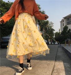 FLOWERS EMBROIDERY LACE MESH SKIRT